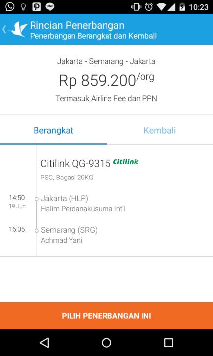 Pemasanan tiket Jakarta Semarang 19 Juni 2015, Pulang Semarang-Jakarta 23 Juni 2015